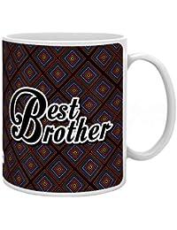 Indigifts Rakhi Gifts for Brother Bro Quote Printed ceramic Gift Set of Mug 330 ml, Crystal Rakhi for Roli & Greeting Card black