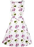 OWIN Women's Vintage 1950's Floral Spring Garden Picnic Dress Party Cocktail Dress (XXL, White+Purple)