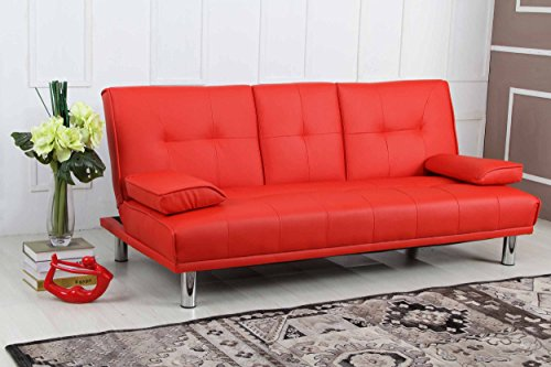 U0027Manhattan Sleep Designu0027 Modern Faux Leather Fold Down 3 Seater Sofa Bed  With Drinks Table U0026 Cushions  Available In Black, Red, White, Green, Blue,  Orange, ...