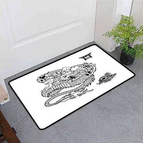 ußmatte, Japanese Dragon Tattoo Art Style Mythologische Drachenfigur Monochromes Reptil-Design, maschinenwaschbar/rutschfest Schwarz-Weiß-Badematte ()
