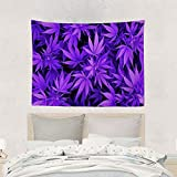 Alfreen arazzo Purple Cannabis Weed Leaves Pot Leaf Marijuana Tapestry Wall Hanging Unique Printed Polyester Blanket Fashion Home Decorations Tapestries for Dorm Couch Living Room