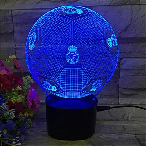 Optische Täuschungslampe Lampe 3D Nachtlicht, Bunte Farbe Real Madrid Football Club Led Lichter, Bluetooth Lautsprecher Basis Dekoration -