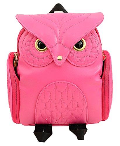 Hugaily - petit sac ¨¤ dos en cuir mignon owl conception pour femme - nombreux rangements - plusieurs coloris - ESB01 Rouge