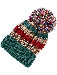 Feiboy Beanie Hat De Invierno-Sombrero De Knit Cálido Gorra De Esqui Hats  con Pompon d15dc81eaad
