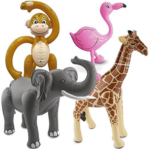 F2/Carpeta 4 aufblasbare XXL-Tiere für eine * SAFARI-PARTY * // mit Affe + Flamingo + Elefant + Löwe // Afrika Savanne Kindergeburtstag Geburtstag Motto Ballon Deko Dekoration