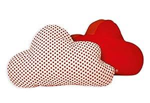 La Fraise Rouge 4251005603871 - Cuscino, motivo: nuvole/regalo di compleanno, Amelie, arancione con pois rossi