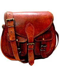 E-Tailor Pure Brass Fittings Best Quality Handmade Vintage Brown Genuine Leather Regular Cross Body Bag | Sling...