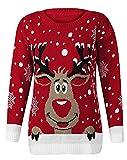 O.AMBW Frauen Unisex Strickpullover Weihnachten Santa Rudolph Rentier Pullover