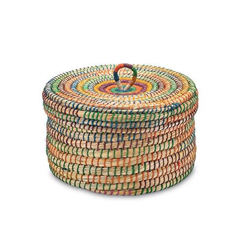 Aufbewahrungskorb Krimskramskorb mit Deckel Bunt - Natur - Handarbeit - Fair Trade (Ø 30cm)