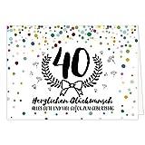 Große Glückwunschkarte zum 40. Geburtstag XXL (A4) Konfetti bunt/mit Umschlag/Edle Design Klappkarte/Glückwunsch/Happy Birthday Geburtstagskarte/Extra Groß/Edle Maxi Gruß-Karte