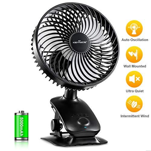 KEYNICE Mini USB Ventilateur Ultra Silensieux Ventilateur À Pince 4 Vitesses de Rotation Automatique & Manuelle Ventilateur de Bureau Portable Fan pour Camping Voyage Bébé Poussette Bureau