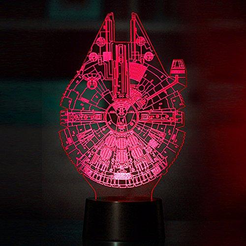 (Mangopie Millennium Falcon Nachtlicht,3D Optical Illusion Star War Lampe mit 7 Farbwechsel & Fernbedienung für Kinder Jungen Geburtstagsgeschenk Home Dekoration)