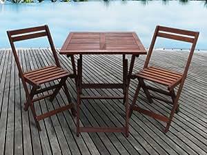 Habitat et Jardin - Salon de jardin en bois exotique Hanoï - Mahogany - Marron acajou- Table pliante carrée 60 x 60 x 74 cm + 2 chaises pliantes