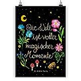 Mr. & Mrs. Panda Poster DIN A3 Magische Welt - Magische Momente, Spruch schön, Spruch positiv, Motivation, schwarz, magisch, Blumen, Nacht, Weisheit Poster, Wandposter, Bild, Wanddeko, Geschenk