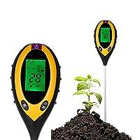 ZhongYe 4-in-1 Soil Tester Moisture Meter PH Levels Temperature Sunlight Lux Intensity Survey Instrument Large Backlit LCD Display Indoor Outdoor Farm Garden Lawn Plants