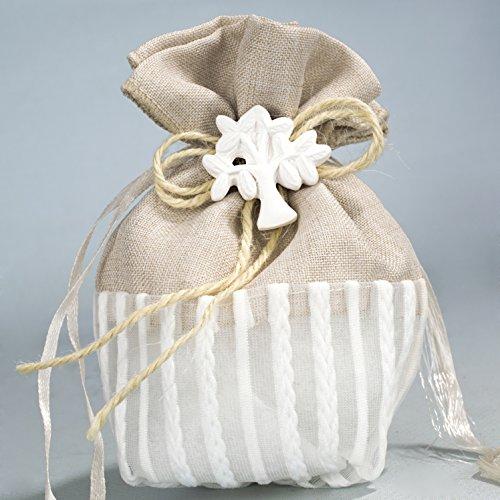 Kit 3 pezzi bomboniera matrimonio battesimo comunione cresima confettata completa sacchetto beige + albero della vita