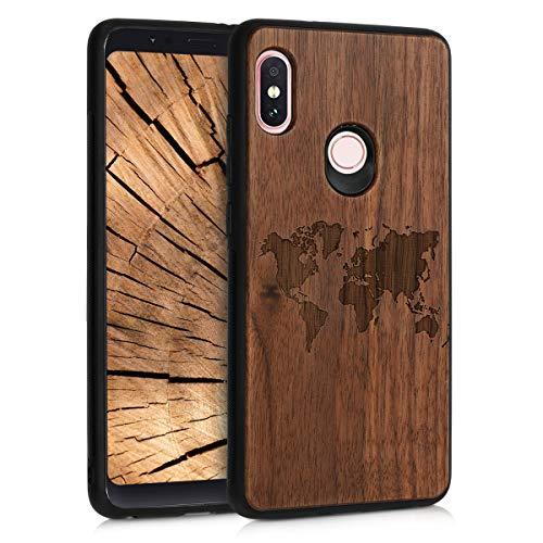 kwmobile Holz Schutzhülle für Xiaomi Redmi Note 5 (Global Version) / Note 5 Pro - Hardcase Hülle mit TPU Bumper Walnussholz in Weltkarte Umriss Design Dunkelbraun - Handy Case Cover