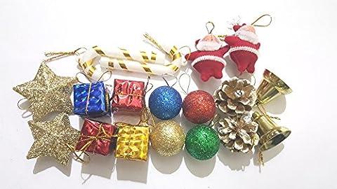 Décoration de Noël Décorations avec plusieurs Balles de Hockey Boîte Cadeau Père Noël Cloches, etc.