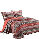 Unimall gesteppt Tagesdecke Patchwork Baumwolle 220 x 240 cm Bettüberwurf Decke für Doppelbett Sofa im Boho Stil