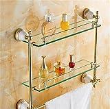 GuoEY Badezimmer mit Doppelwaschbecken Dressing Stand Gold Handtuchhalter europäischen Badezimmer Anhänger antike Badezimmer Regal Bad einziges Glas Regal (Farbe: 6#)