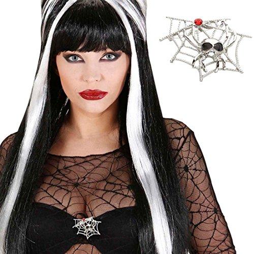 Spinnen Brosche Hexen Pin silber Spinnweben Badge Spinnennetz Schmuck Gothic Vampir Anstecker Halloween Kostüm Accessoire