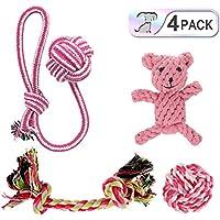 Hundespielzeug Set,Haustier welpenspielzeug Kauspielzeug Seil für kleine Welpen Hunde (4-Pack-2)