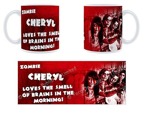 Zombie Cheryl Loves The Smell Of Brains In The Morning-Buchse Name Große Tasse aus Keramik -