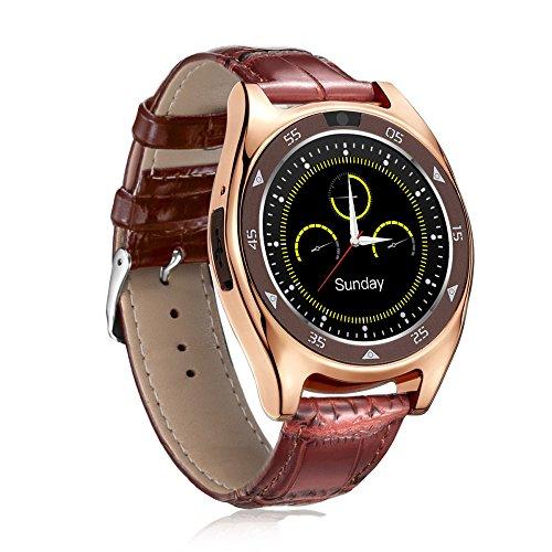 QSM Smart Watch Runde Bildschirm Übung Schritt Schlaf Herzfrequenz Blutdruck Blut Sauerstoff Test Foto Karte,Braun,A