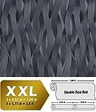 Streifen Tapete EDEM 81130BR29 Vliestapete strukturiert Ton-in-Ton und metallischen Akzenten platin silber anthrazit grau 10,65 m2