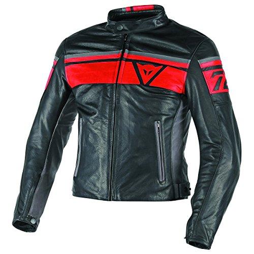 Dainese-BLACKJACK Lederjacke, Schwarz/Rot/Smoke, Größe 52 (Dainese Leder Jacke 52)