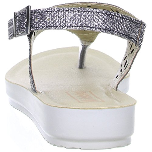 inblu Damen Zehentrenner Sandaletten Glitzeroptik silber Silber (Gunmetal)