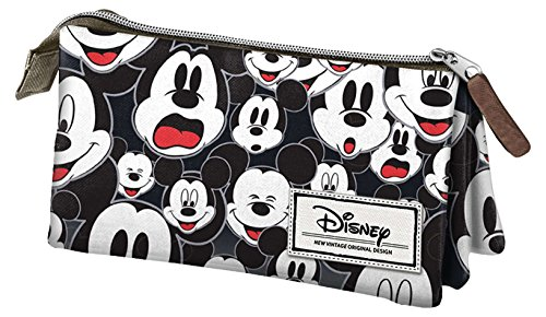 Mickey Mouse- Disney Classic Mickey Estuche portatodo Triple, Color Negro, 24 cm (Karactermanía 33605)