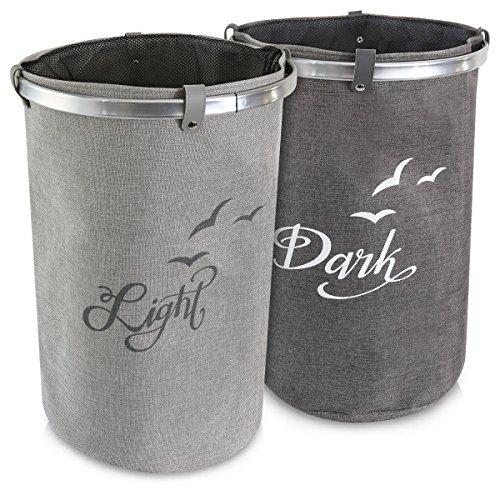 Navaris cesto per biancheria portabiancheria - 2x cesta cilindrica per panni sporchi - contenitore in design pieghevole - 40x58cm 60l beige grigio
