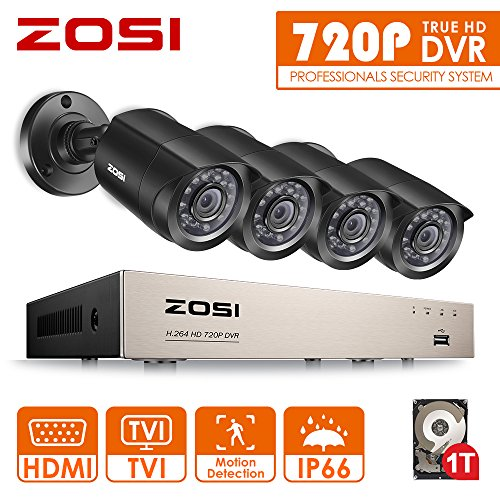 ZOSI Security Camera Systems 8CH 720P CCTV DVR with 4x 720P Bullet Cameras System 1TB Hard Drive