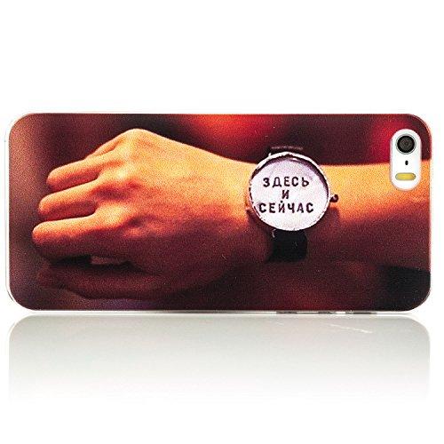 Saxonia Apple iPhone SE 5S 5 Hülle Hard Case Back Cover Schutzhülle Motiv Youth Planet Peace Hier und Jetzt