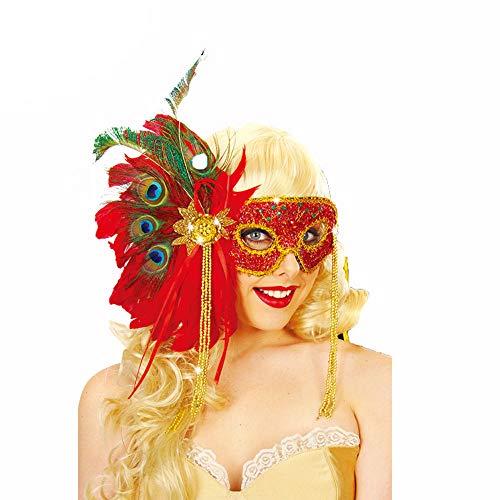 Maske YN Halloween Maskerade Anzieh Venedig Halbgesicht Weibliche Prinzessin Federmaske (Einheitsgröße, Rot)