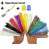 3d pen filamento Refills- Bouns 20reutilización plástico papel stencil-3d plantillas ebook-2brilla en la oscuridad colores -1espátula -2guante de silicona para proteger finger-1.75mm–Universal ABS -12único Rainbow Colors- 32pies cada color por attopro