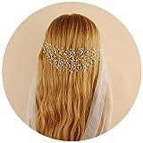 TOPQUEEN Braut schmuck Kristall Pearl Vine Haarbänder Hochzeit Haar ZubehörHaarteil Kamm Haarband (HP55-Golden)