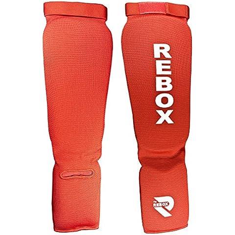REBOX Shin collo del piede Pad MMA Gamba Piede Guardie Muay Thai Kick Boxing Protezione Schermo, Red, S/M