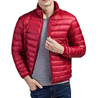 ACMEDE Men's Packable Lightweight Warm Down Puffa Jacket Padded Jacket Coat Red