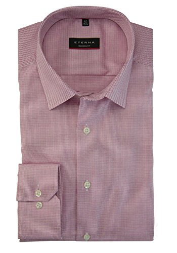 Eterna Long Sleeve Shirt Modern Fit Natté Structured Rosa/Bianco
