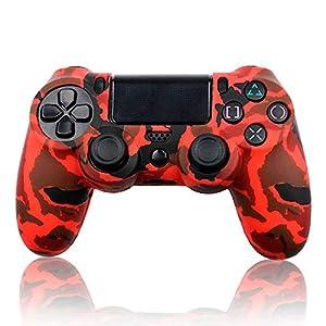 Ociodual Silikon Schutzhülle Tarnung Für Sony PS4/Pro Dualshock 4 Controller Dunkel Rot