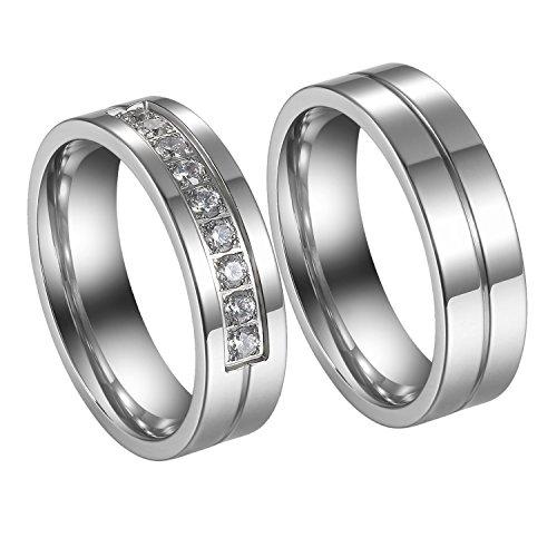 Flongo 2 anelli coppia set, anelli fidanzamento, anelli per lui & lei amanti amore, anelli di eternità argenteos acciaio inossidabile, regalo per san valentino/ natale
