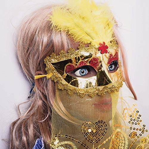 Maskenball Masken Damen, QHJ Rose Brilliant Masquerade Mask für Damen Oriental Fluffy Feather Venezianische Maske Weihnachtsfeier, Karneval, Cosplay-Party - Brilliant Damen Kostüm