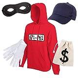 Shirt-Panda Unisex Hoodie Panzerknacker Karneval Kostüm mit Wunschnummer-STANDARDNUMMER Herren und Kinder Verkleidung SET06 Hoodie/Cap/Maske/Handschuhe/Beutel XL