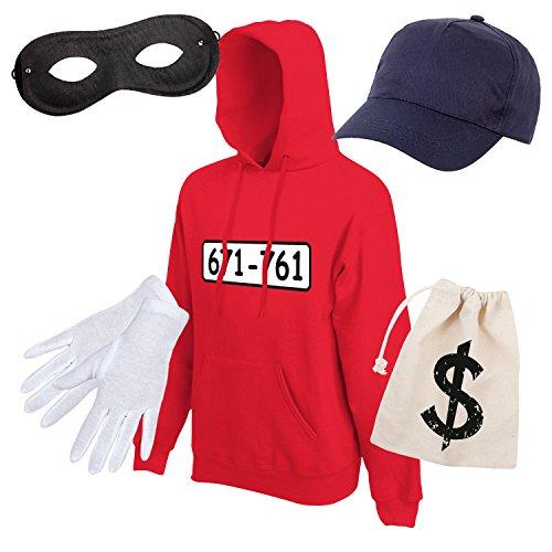 Shirt-Panda Unisex Hoodie Panzerknacker Karneval Kostüm mit Wunschnummer-STANDARDNUMMER Herren und Kinder Verkleidung SET06 Hoodie/Cap/Maske/Handschuhe/Beutel XL (Panda Kostüm Männer)