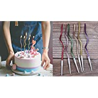 Twisty Birthday Candles Set,Metallic Colorful Curly Coil Candles,Creative Fun Long Thin Wedding Birthday Candles Set,Party Supplies,Cake Decoration,6 Pack-Mix Color