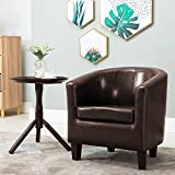 Leisure Zone ® Leather Tub Chair Armchair Striped Sofa Dining Living Room Seating Office Reception (Brown)