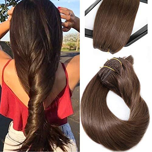 Clip in Extensions Echthaar Verlängerungen Mittel Braun 22 Zoll 70g 7 Stück Silky Straight Weft Remy Haar
