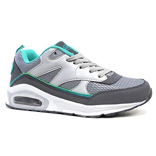Tech Air-Scarpe da corsa da donna, con anti-Shock per scarpe da Fitness, palestra, sport, taglia 4-8 Silver / Mint